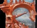 Híd alatt (falapon kerámia) 35x50cm