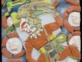 Maja labdajátékos (falapon kerámia) 50x70 cm