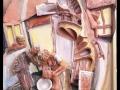 Reggeli készülődés (falapon kerámia) 50x70 cm