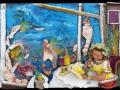 Akváriumkávézó (falapon kerámia) 50x35 cm