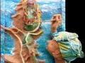Szigetkék (falapon kerámia és textil) 35x50cm